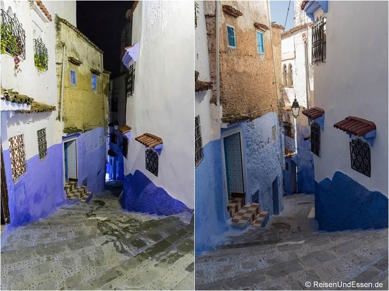 Steile Stufen in Chefchaouen bei Nacht und Tag