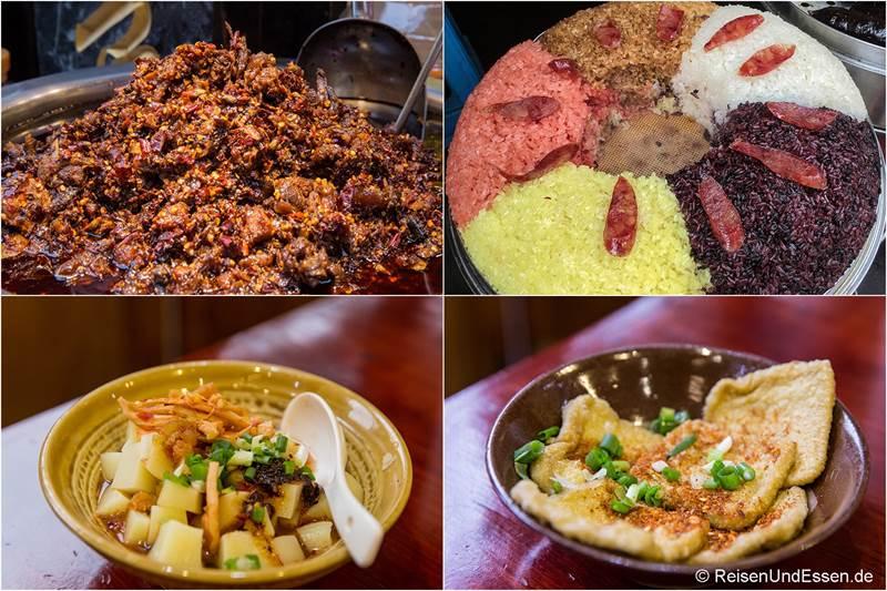 Scharfes Rindfleisch, Reis in verschiedenen Farben und Tofu