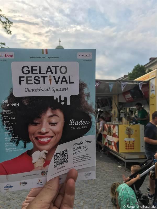 Karte zu den Eisständen beim Gelato Festival in Baden bei Wien