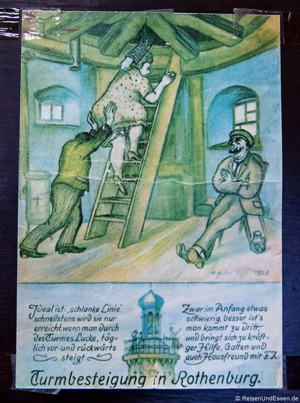 Karikatur beim Aufgang im Rathausturm