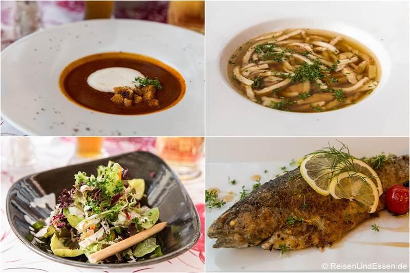 Suppen, Salat und Forelle beim Essen im Hotel Die Gams