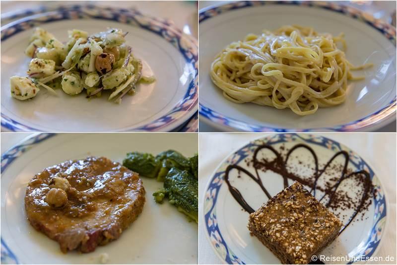 Menü mit Haselnuss im Restaurant Alte Langhe im Piemont