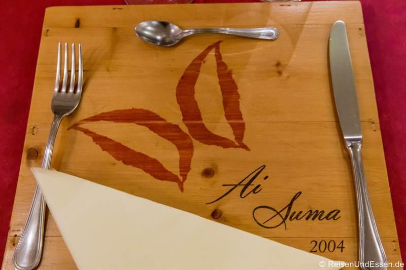 Tischset in der Osteria della Rosa Rossa in Cherasco