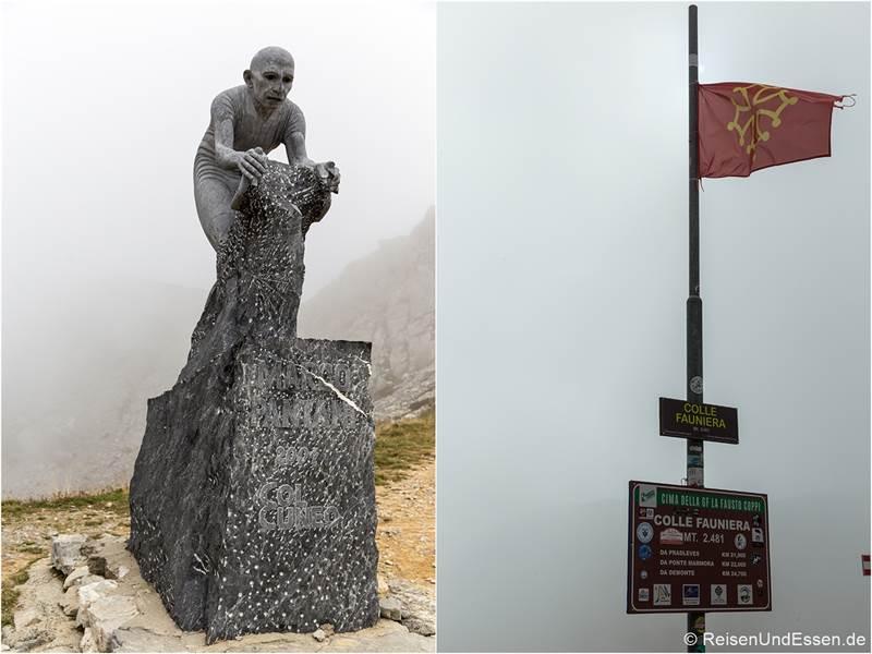 Passhöhe Colle Fauniera mit Denkmal von Marco Pantani