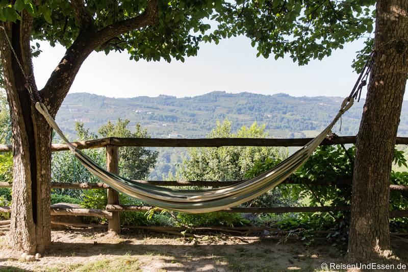 Hängematte zum Relaxen bei der Cascina Pistone in Langhe im Piemont
