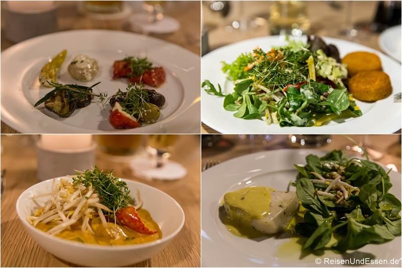 Vorspeisen und Hauptgerichte im Sonnenhotel Weingut Römmert in Volkach