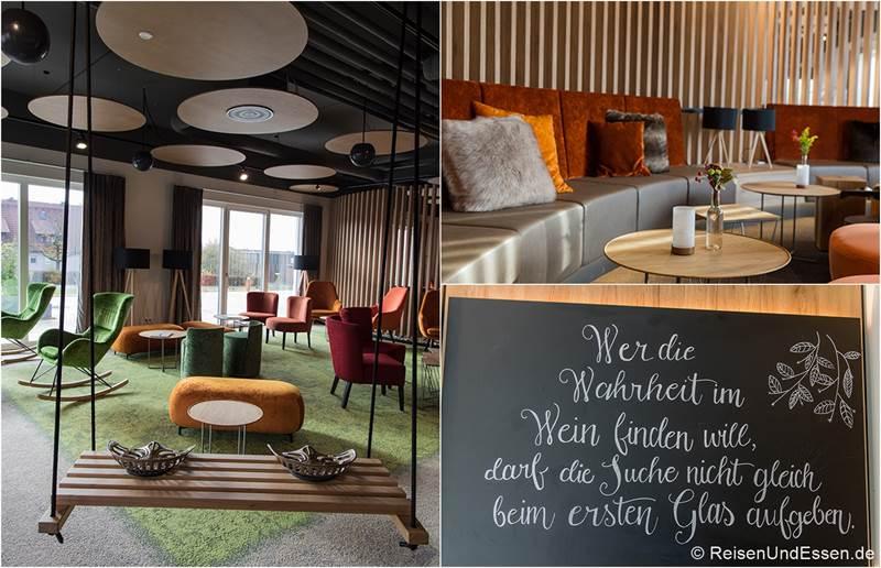 Lobby mit schönen Sitzgelegenheiten im Sonnenhotel Weingut Römmert in Volkach