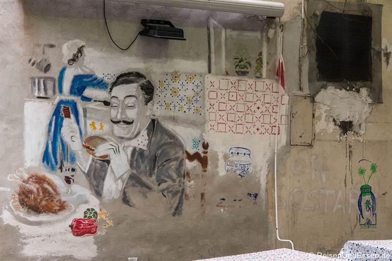 Graffiti bei einem Restaurant in Neapel