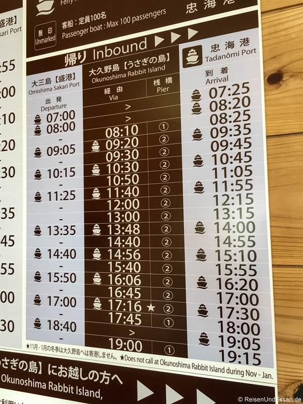 Fahrplan der Fähre zur Kanincheninsel Okunoshima in Japan