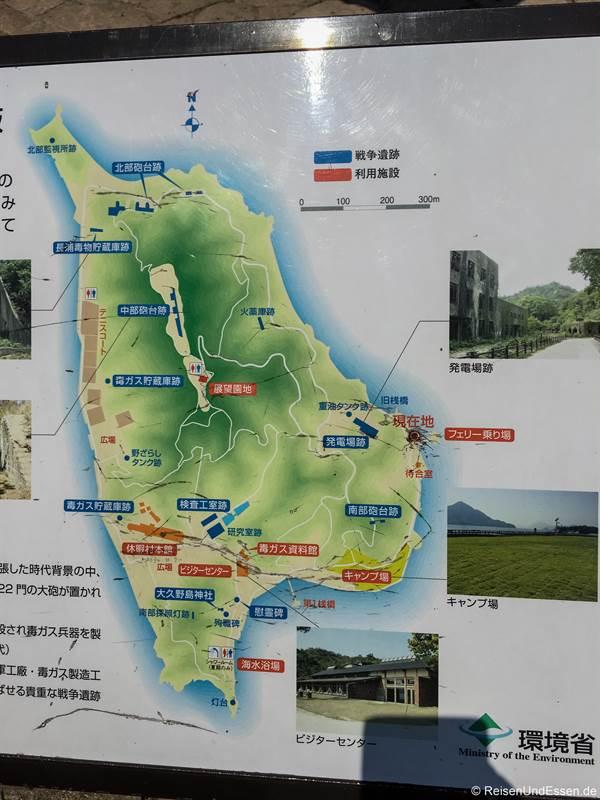Plan der Insel Okunoshima