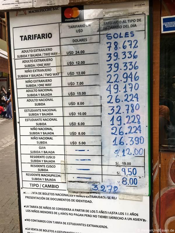 Preise für die Busse von Aguas Calientes nach Machu Pikchu