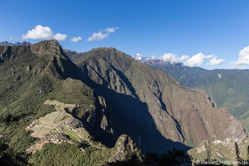 Blick auf Machu Picchu und Mountaña