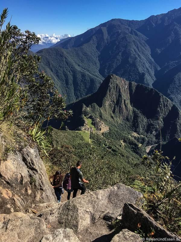 Aussicht auf Machu Picchu beim Aufstieg auf den Montaña