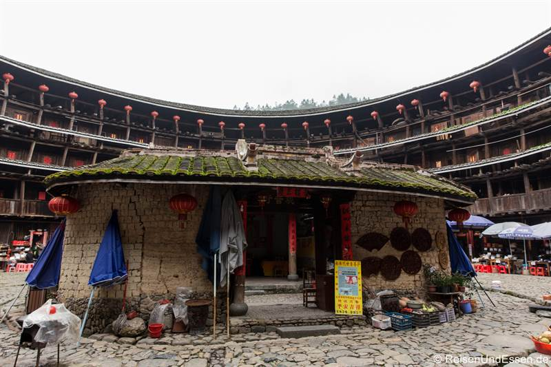 Haus innerhalb des Tulou in Yuchang