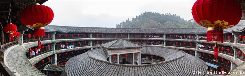 Panorama über den Tulou der Hakka in Zhenchenglou in der Provinz Fujian