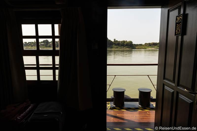 Blick aus unserer Kabine auf den Fluss Irrawaddy