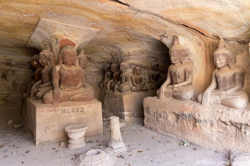 Buddhas in den Höhlen von Hpo Win Daung