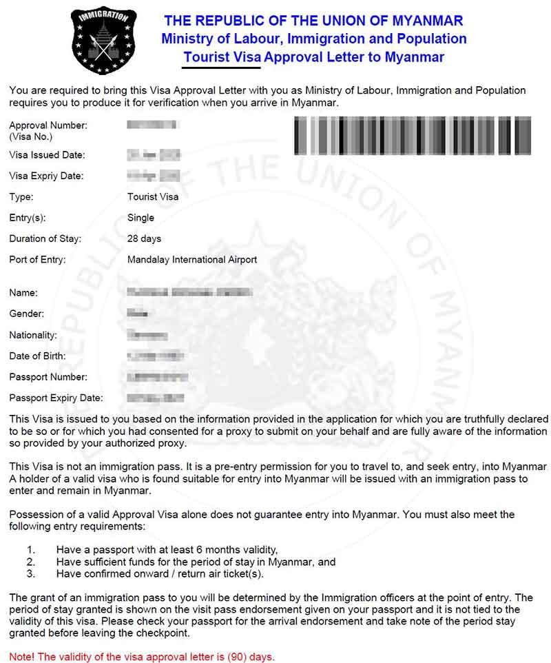 Myanmar Visa Approval