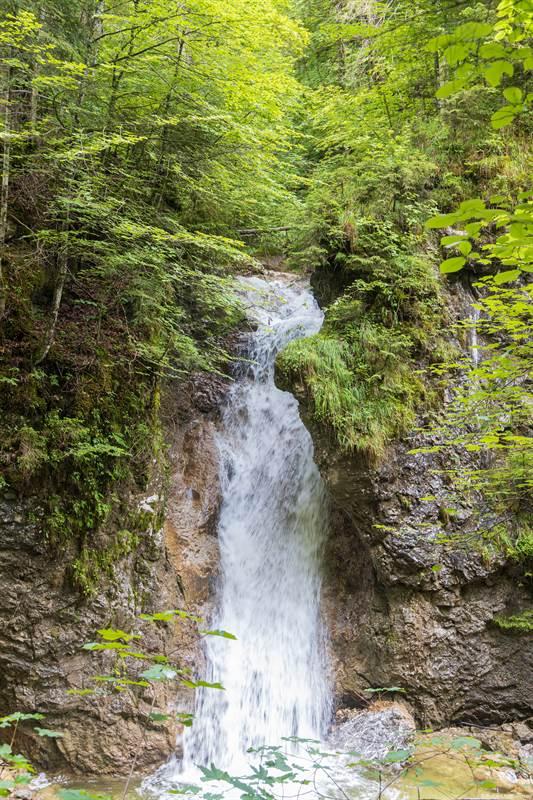 Hoher Wasserfall aus dem Wald in der Schleifmühlklamm
