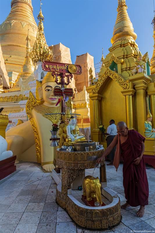 Mönch in der Shwedagon Pagode in Rangun