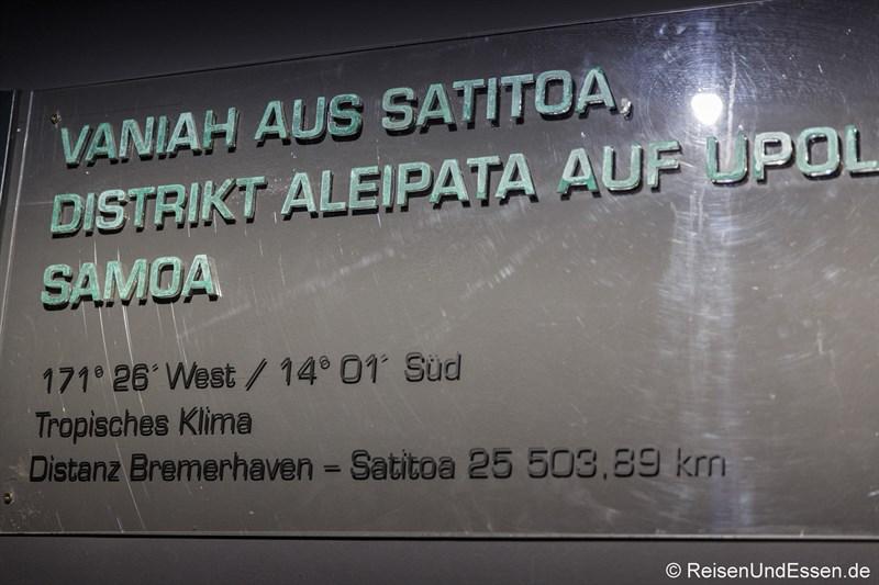 Reisestation Satitoa auf Samoa im Klimahaus Bremerhaven
