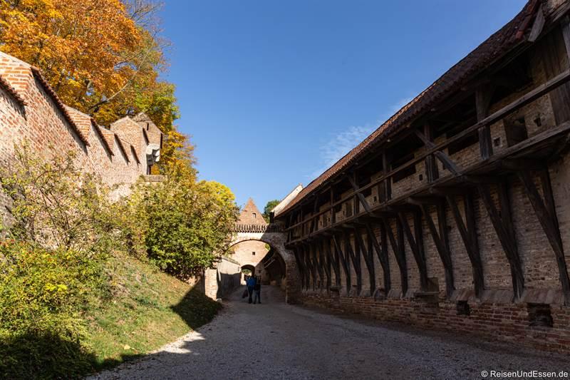 Mauer an der Burg Trausnitz in Landshut